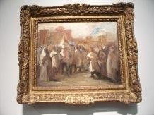 À nouveau, une oeuvre de Eugène Delacroix nommée Le sultan du Maroc Moulay Abd-er Rahman recevant le comte de Mornay, ambassadeur de France, 1832