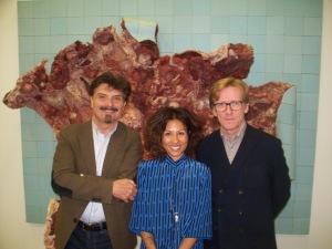 PHOTO: Trois des quatre commissaires impliqués( de gauche à droite: Thierry Raspail, Cheryl Sim et Gunnar B. Kvaran ) dans l'expo collective itinérante d'art contemporain titrée Imagine Brazil au DHC ART jusqu'au 13 mars 2016;